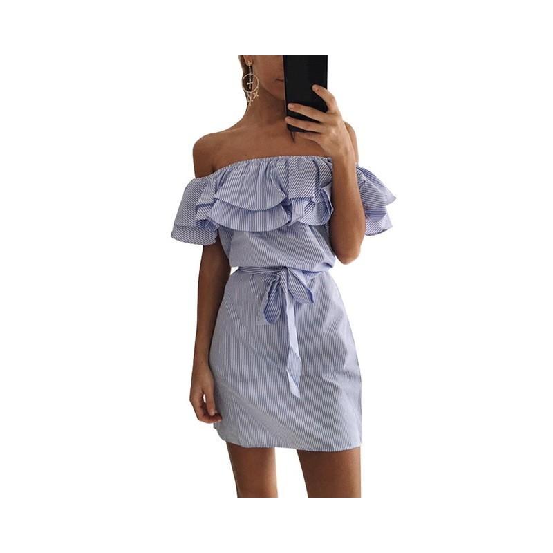 Off shoulders strapless striped ruffles mini dress