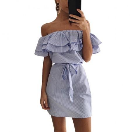 Off-shoulder strapless gestreepte ruches mini-jurk