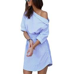 Robe plus size èpaules nudes à rayures