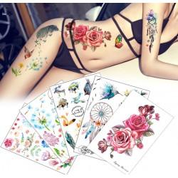 Tatuaje temporàneo flor y pàjaro