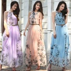 Kwiatowy nadruk maxi sukienka