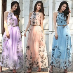 Maxi vestido floreal de chiffon