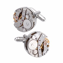 Mechanical watch movement cufflinks