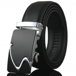 Luxury leather belt with automatic buckle 110 - 130cm