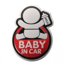 BABY IN CAR odblaskowa 3D naklejka samochodowa wodoodporna