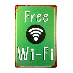 Poster vintage metàlico Free WiFi