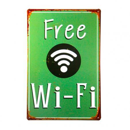 Poster vintage metallique Free WiFi