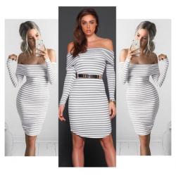 Ołówkowa sukienka w paski bez ramion