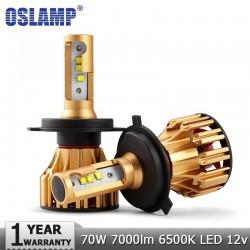 Oslamp H4 H7 H11 9005 9006 H13 H1 SMD Virutas DEL CREE 70 W 7000LM LED Bombillas de Los Faros del co