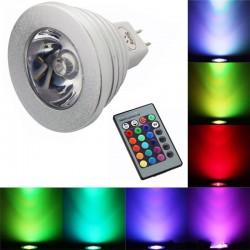 Bombilla cambia colòr con contròl remoto E14 E27 RGB LED 3W