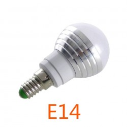 E14 - E27 3W RGB led bulb lamp spotlight 16 color incl. remote control