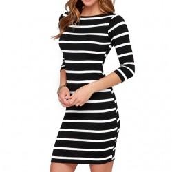 Zwart-wit gestreepte spandex jurk