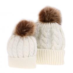 Futrzany pompon bawełniana czapka dla mamy & dziecka 2 szt
