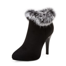 High heels winter ankle furry boots