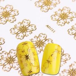3D Blumen Goldene Nagelaufkleber