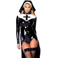 Nun vinyl leather halloween costume