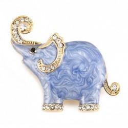 Emaille & Kristalle Elefant - Brosche