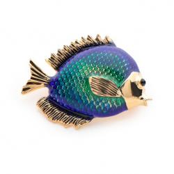 Broche femme poisson bleu