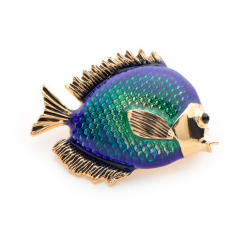Niebieska ryba damska broszka
