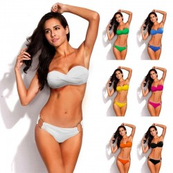 Metalowy pierścień push up bikini komplet