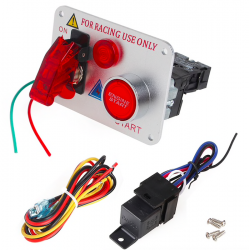 Pulsante di accensione per auto da corsa 12V Red LED