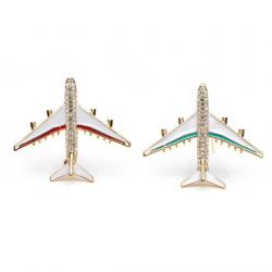 Kryształowy samolot broszka