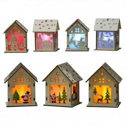 Houten kersthuis met LED