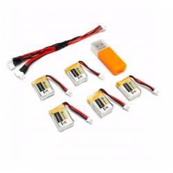 Eachine RC Quadcopter E010 E010C 3.7V 150MAH 45C upgrade battery USB charger set 5 pcs