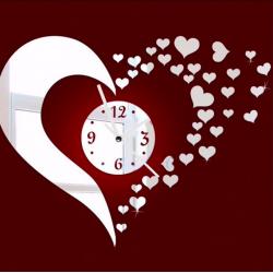 Adhesif de mur miroir coeur et horloge 3D