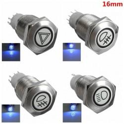 16mm LED beleuchteter selbstsichernder wasserdichter Druckschalter aus Edelstahl