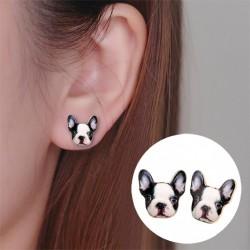 Boucles d'oreilles bouton bulldog