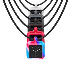 Apple Watch 1/2/3 seria silikonowa ramka obudowa etui z paskiem naszyjnik