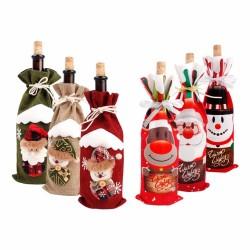 Pokrowiec świąteczne ubranko na butelkę wina płótno & len