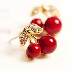 Red cherry earrings