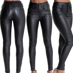 Spodnie z wysokim stanem ze sztucznej skóry