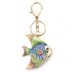 Kristall & Emaille Fisch Schlüsselanhänger