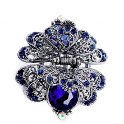 Flower & butterfly crystal vintage har clip