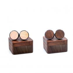 Vintage drewniane okrągłe spinki do mankietów