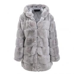 Vintage puszysta kurtka z kapturem eleganckie długie futerko - rozmiar plus