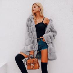 Elegante giacca lunga con cappuccio soffice - pelliccia - taglie forti