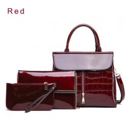 Elegante conjunto de bolsa de cuero brillante de 3 piezas