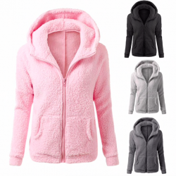Soft fleece hooded jacket with zipper