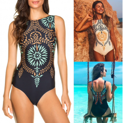 Tropical design one piece swimsuit with push up