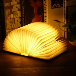 Przenośna składana magnetyczna LED do ładowania USB drewniana książka lampa nocna lampka