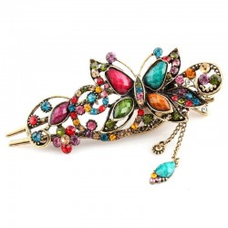 Vintage resin & rhinestones flower hair clip
