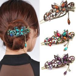 Vintage - cyrkonie kwiaty i motyl - spinka do włosów