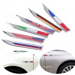 Germany - Italy - England - France - US - Swedish - Canada flag - metal car sticker - 2 pieces