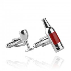 Wine glass & bottle silver cufflinks