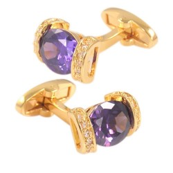 Purple crystal golden cufflinks