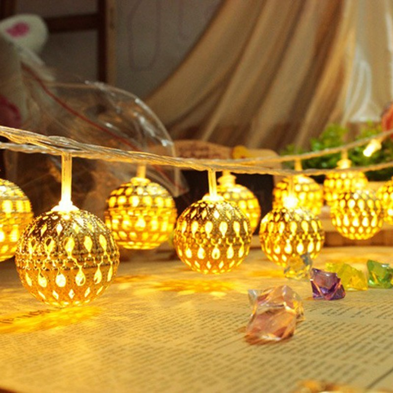 LED light strip 20 lamp golden balls Christmas - Garden decoration